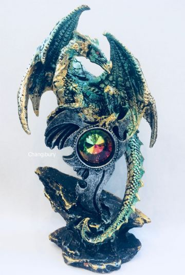 Mythical Gothic Dragon GREEN with GEODE EMBLEM Crystal DRG386A
